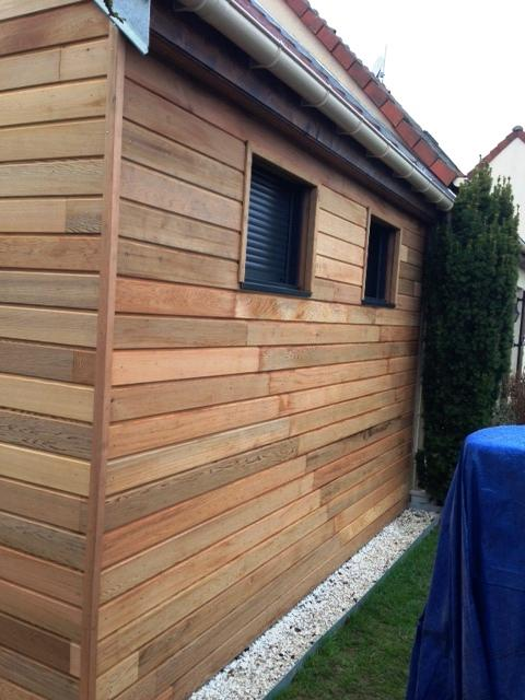 Extension bardage Red Cedar et menuiserie Alu couleur Gris Anthracite.